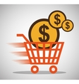 shopping online cart money currency vector image vector image