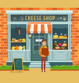 showcase of cheese shop and buyer with package vector image vector image