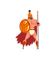 spartan warrior in golden armor and red cape vector image vector image