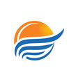sunset beach water abstract icon logo vector image vector image