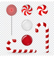 sweet candy of various forms cane circle on stick vector image