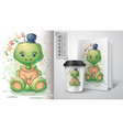 teddy turtle poster and merchandising vector image