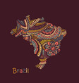 textured map brazil hand drawn ethno vector image vector image