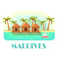 tropical resort at maldives with beach and ocean vector image