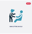 two color man lifting an old man icon from people vector image