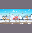 village winter landscape house buildings with snow vector image vector image