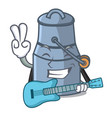 with guitar milk can mascot cartoon vector image