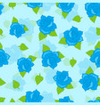 blue rose with green leaf seamless pattern vector image