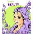 beautiful girl with lavender bouquet vector image