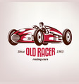 retro race car vintage symbol emblem label vector image