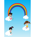 Education concept cute little kids boy and girl vector image