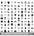100 womens accessories icons set simple style vector image vector image