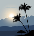 A Tropical Early Morning Sunrise with Palm Trees vector image