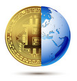 abstract bitcoin inside planet earth vector image vector image