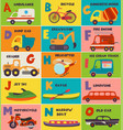 alphabet card with transport a to o vector image vector image
