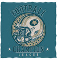 american football t-shirt label design vector image vector image