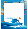 An empty signboard in the middle of the sea vector image vector image