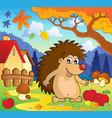 autumn scene with hedgehog 1 vector image vector image