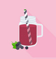 blackcurrant smoothie in mason jar vector image vector image