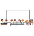 blank board with kids wearing scientist costume vector image vector image