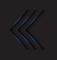 blue light arrows direction on black vector image vector image