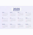 calendar 2020 isolated on pink background vector image vector image