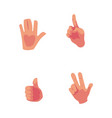 cartoon hands showing high five thumb up vector image vector image