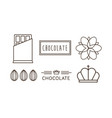 chocolate line icons set logo label badge or vector image vector image