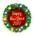 Christmas happy new year 2017 green wreath vector image vector image