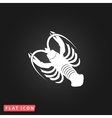 crawfish flat icon vector image vector image