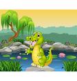 Cute crocodile presenting vector image vector image