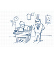 doodle angry business man boss standing at worker vector image vector image