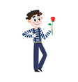 french mime artist in striped shirt and beret vector image