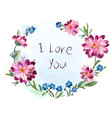 greeting card from a bouquet of flowers vector image vector image