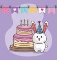 happy birthday card with cute bunny vector image vector image