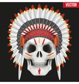 Human skull with indian chief hat and War Paint vector image vector image