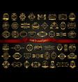Large collection of dark gold-framed labels vector image