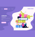 library flat web landing page vector image