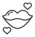 lips line icon kiss with heart vector image