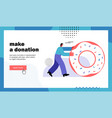 make a donation website landing page vector image