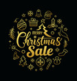 merry christmas sale message with icons golden vector image vector image