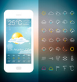 Mobile Weather Application Screen with icon set vector image vector image