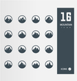 mountain icons set 16 quality icons vector image vector image
