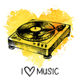 Music background with splash watercolor heart vector image