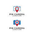pin map and camera logo design template vector image vector image