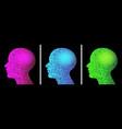 pixel head profile artificial intelligence logo vector image
