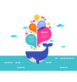 poster with colorful splashes and whale vector image vector image