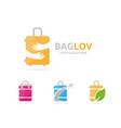 set of bag logo combination baggage and embrace vector image