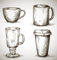 set of coffe mugs drawing vector image