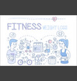 Set of doodle icons related to fitness